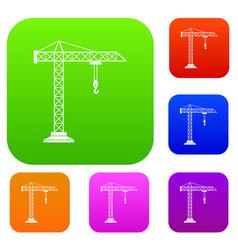 construction crane set collection vector image vector image