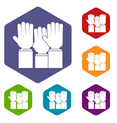 Different people hands raised up icons set hexagon vector
