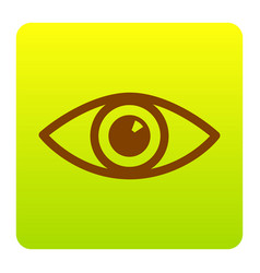 eye sign brown icon at green vector image vector image
