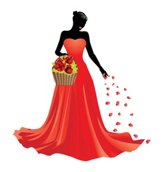 Girl and basket of roses2 vector
