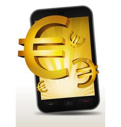 golden euros inside smartphone vector image