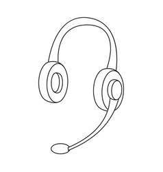 Headphones icon in outline style isolated on white vector