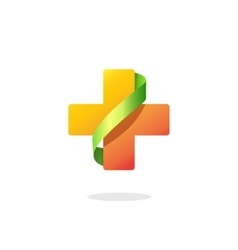 Medical cross logo isolated on white vector image