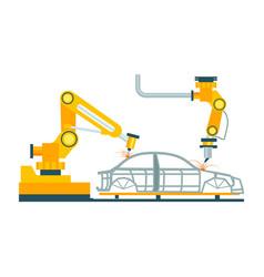 modern robotic car manufacturing process vector image vector image