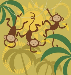 monkey and bananas vector image