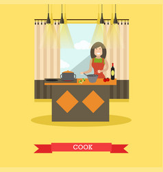 mother cooking in kitchen in vector image vector image