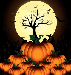 Pumpkin and bats in big moon night on black sky of vector