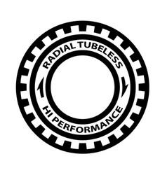 Radial tubeless hi performance tyre symbol vector