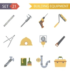 Retro Flat Building Equipment Icons and vector image vector image