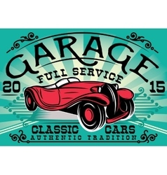 retro poster with a car for the service station vector image