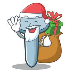 Santa with gift nail character cartoon style vector