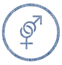 sex symbol rounded fabric textured icon vector image