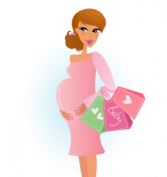 Shopping pregnant girl vector