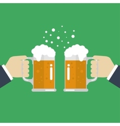 Toasting glasses of beer vector image