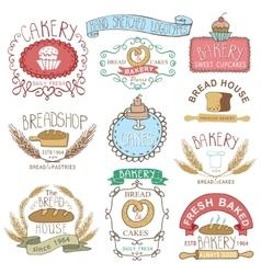 Vintage bakery labelscolored hand sketched vector