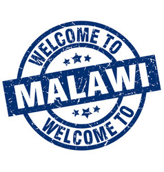 Welcome to malawi blue stamp vector