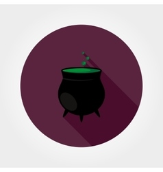 Black witches pot with potion vector