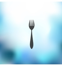 Fork icon on blurred background vector
