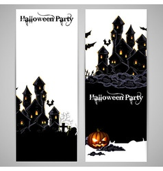 Halloween background with castle vector