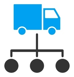 Truck distribution links flat icon vector