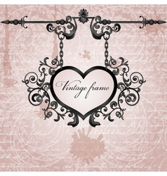 grungy background with wrought heart signboard vector image