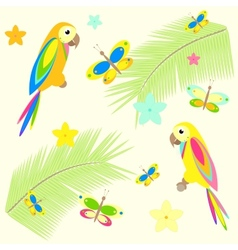 Seamless background with palm tree and parrots vector
