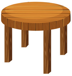 Round wooden table on white background vector