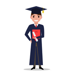 cartoon student boy graduate vector image