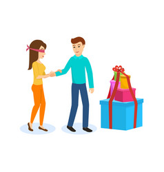 male leads girl to the side large boxes of gifts vector image