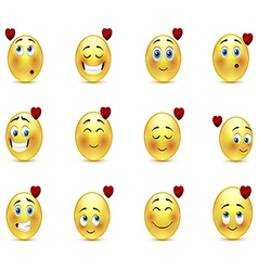 Set valentine emoticons vector