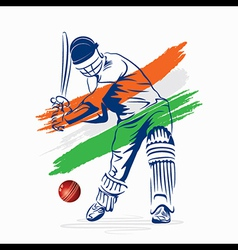 Cricket player hi the ball design by brush stroke vector