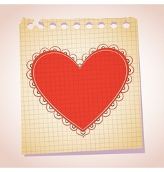 Heart note paper cartoon vector