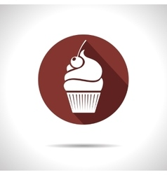 Cupcake with cherry icon eps10 vector