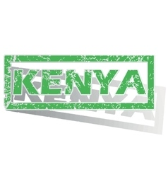 Green outlined kenya stamp vector
