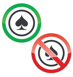 Spades permission signs vector