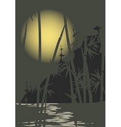 Moon and bamboo vector image