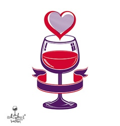 Simple wineglass artistic marriage conce vector