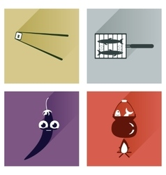Set flat icons with long shadow exotic food vector