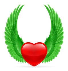 Heart with wings up vector