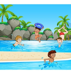 Boys having fun at the beach vector