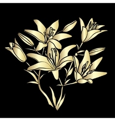 Golden silhouette lily vector