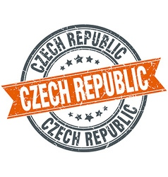 Czech republic red round grunge vintage ribbon vector