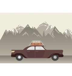 Landscape with car in mountain vector