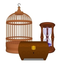 Wooden cage and casket and hourglass vector