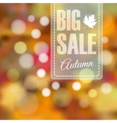 Autumn fall sale poster with blurred background vector