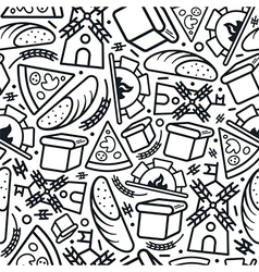 Bakery seamless pattern in thin line style vector