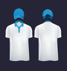 baseball caps and casual t shirt polo in different vector image
