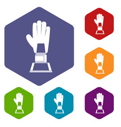 Baseball glove award icons set hexagon vector