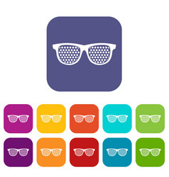 Black pinhole glasses icons set vector