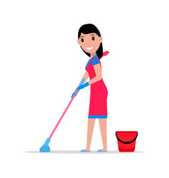 Cartoon girl mop and bucket washes floors vector